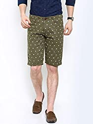 Showoff Men's Olive Slim Fit Printed Casual Chino Shorts