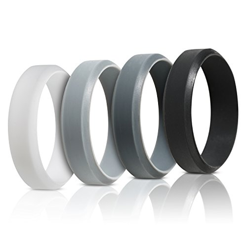 Silicone Ring Wedding Band For Men - 4 Pack - Beveled Design (10)