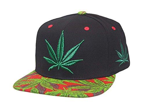 Marijuana-KUSH-Pot-Leaf-Weed-Cannabis-Embroidered-Flat-Bill-Snapback-Cap-BlackRed