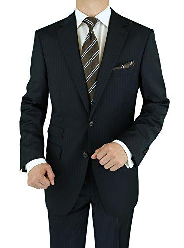 Luciano Natazzi Men's Ticket Pocket 180'S Cashmere Wool Stripe Suit