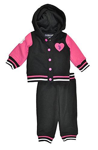 U.S. Polo Assn. Baby-Girls Newborn Fleece Hooded Jacket and Pant Set