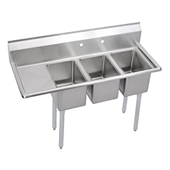 Food Service Sinks : .com: Elkay 3C10X14-L-12X Stainless Steel Compact 3-Compartment Sink ...