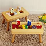 Personalized Name Puzzle Stool 1-12 Letters- Natural Stool, Primary Letters