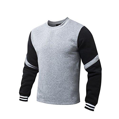 AIRAVATA Uomo Cotone Maglione Ragazzo Vestibilità Slim Sottile Tuta Sportiva Solido Colore Splicing Felpa Con Cappuccio
