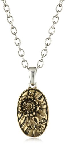 Bronzed by Barse Carved Two-Tone Pendant Necklace