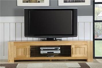Milton solid oak living room furniture large plasma tv stand cabinet
