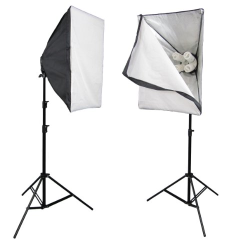 PhotoGeeks SBK2 Continuous Lighting Photography Kit / 2 x 70 x 50cm Softboxes / 8 x 45w Fluorescent 5500k Light Bulbs / 2 x 2m Stands