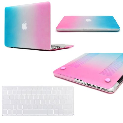 "Easygoby 2 In 1 Retina 13-Inch Colorful Rubberized Hard Case For Macbook Pro 13.3"" With Retina Display (Models: A1502 /A1425) Shell Cover + Transparent Keyboard Cover - Rainbow"
