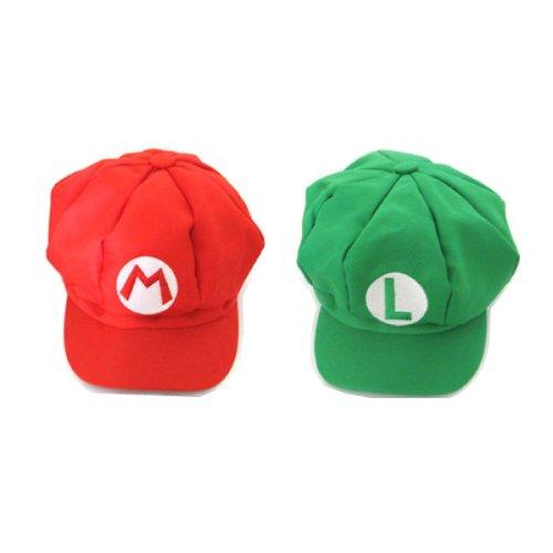 【スーパーマリオ & ルイージ】 2個セット ゲーム コスプレ帽子 キャップ パーティグッズ 衣装