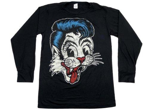 長袖 バンド パンク ロック Tシャツ ★ヴィンテージ仕様 STRAY CATS ストレイ キャッツ リーゼントキャット Lサイズ ロンT ★ ブラック メンズ インナー ロング Tシャツ BAL-096L-黒