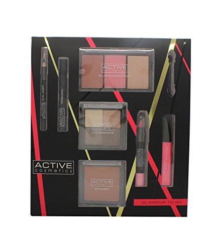Active Cosmetics Glamour To Go Confezione Regalo Matita Eye Liner + 6.5ml Mascara + 4 x 2.5g Ombretti + 10g Bronzer + 2 x 6g Blusher + 6g Highlighter + 10.5ml Lucidalabbra + 3.3g Matita Labbra + Applicatore