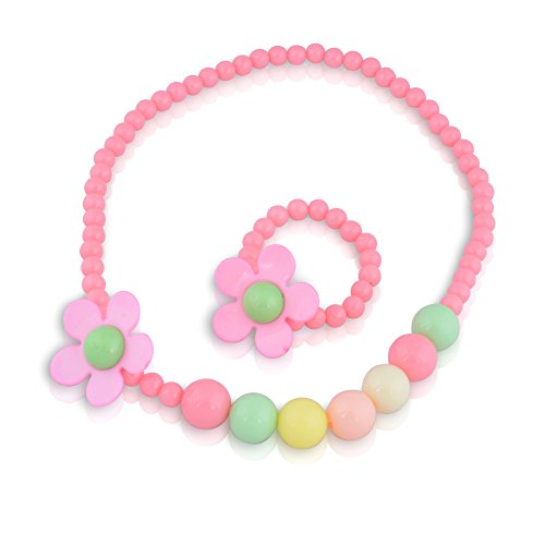 Kids Jewelry – Set For Little Girls and Children – Colorful Stretch Play Necklace And Bracelet