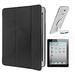 DMG Smart PU Leather Ultra Thin Trifold Book Cover Case For Apple iPad 2 / 3 / 4 (Black) + Universal Octopus Swivel Stand Mount + Matte Screen