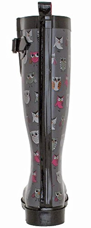 70b3ed193b9 ... Capelli New York Ladies' Shiny Pop Owls Printed Rain Boot Grey Combo 9  ...