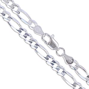 Sterling Silver Diamond-Cut Figaro Link Chain 4.5mm Solid 925 Italy Necklace 24