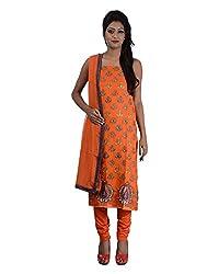 Mumtaz Sons Women's Cotton Unstitched Dress Material (MS111409C,Orange)