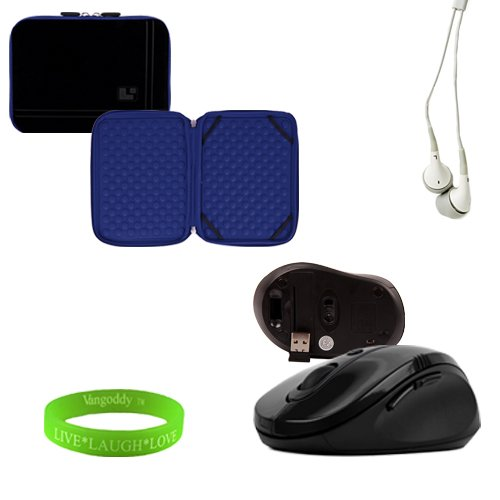 Travel Friendly Black And Ocean Blue 13 Inch Laptop Sleeve To Fit Your Lg Xnote 2350 Ultrabook. Exterior Is Lined With Soft Micro Suede And Interior In Lined With Bubble Cushion + Vangoddy Live Laugh Love Bracelet + Universal Earbuds + Wireless Mouse