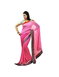 Hawai Pink Double Shaded Georgette Saree