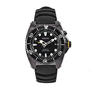 Click to buy Seiko Watches for Men: SKA427P2 Kinetic Stainless Steel Black Rubber Strap Watch from Amazon!