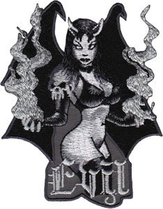 Novelty Iron on - Angels & Devils Evil Black and White SEXY Devil Girl Logo Patch