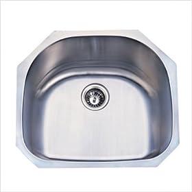 Undermount D shape Kitchen Sink in Brushed Nickel