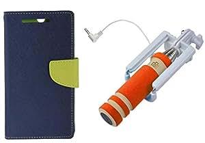 Novo Style Book Style Folio Wallet Case Xiaomi Redmi1s Blue + Wired Selfie Stick No Battery Charging Premium Sturdy Design Best Pocket SizedSelfie Stick