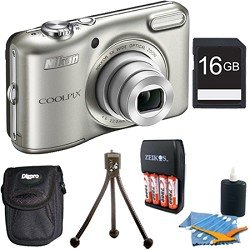 COOLPIX L28 20.1 MP 5x Zoom Digital Camera - Silver with 16GB Memory Bundle. Bundle Includes 16GB Memory Card, Charger with 4AA 2900mAh Batteries, Mini Table-top Tripod, Deluxe Carrying Case , and 3pc. Lens Cleaning Kit.