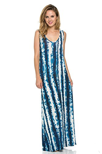 Frumos Womens Sleeveless Tank Racerback Long Maxi Dress XXX-Large Royal Inkfish