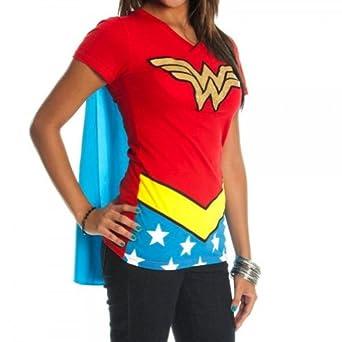 Low Price DC Comics Wonder Woman Glitter Juniors Red V-neck Cape Tee