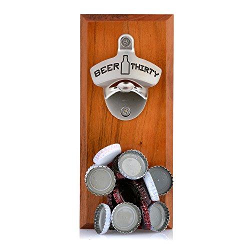 Barware Gear Bottle Opener & Magnetic Cap Catcher. Cherry Wood. (Beer Thirty) (Bottle Opener Board compare prices)