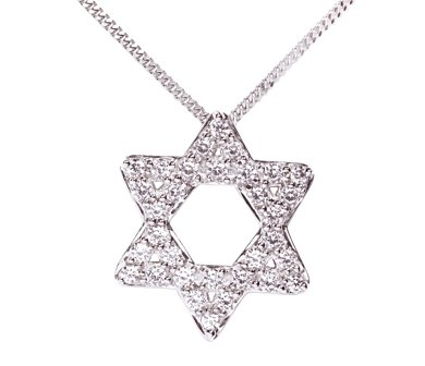 Sterling Silver Symbols of Hope & Protection Necklace Pendant Judaism Cz & Sapphire