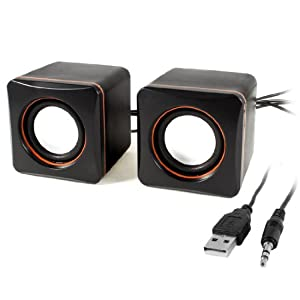 Black Volume Control USB 2.0 Desktop Multimedia Speaker Box Pair for Laptop