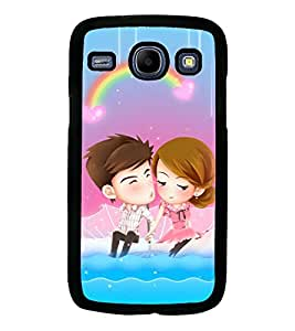 Printvisa Animated Romantic Couple With A Rainbow Background Back Case Cover for Samsung Galaxy Core i8262::Samsung Galaxy Core i8260