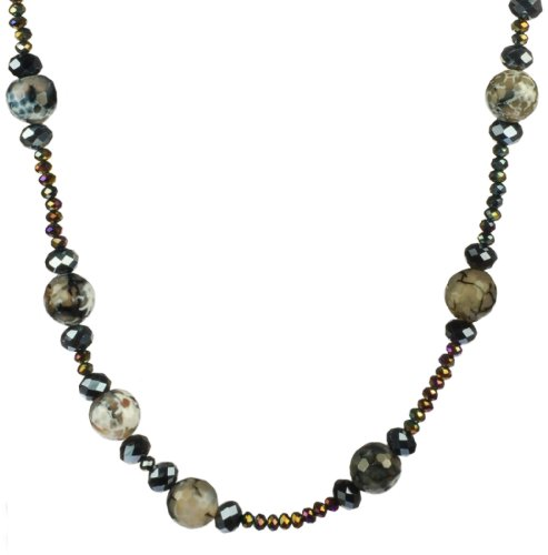 Endless Gray Agate and Faceted Blue Rondell Beaded Necklace 36