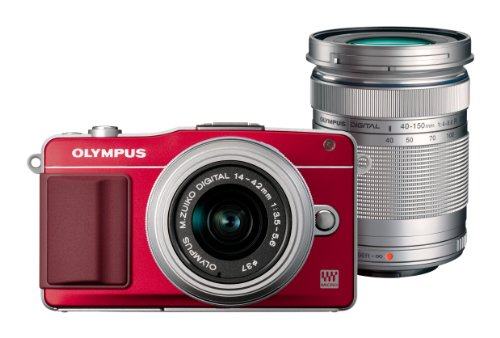 OLYMPUS ミラーレス一眼 PEN mini E-PM2 ダブルズームキット レッド E-PM2 DZKIT RED