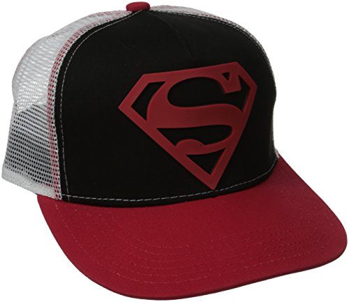 Superman Men's Rubber Patch Logo Flat Brim Hat, Black, One Size
