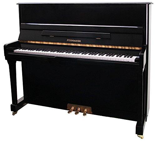Steinmayer M20 Klavier (akustisches Klavier, hochwertiges Piano mit Markensaiten aus deutscher Fertigung, Klaviatur Ahorn) schwarz Hochglanz