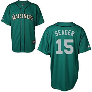 Kyle Seager Seattle Mariners Alternate Green Replica Jersey by Majestic by Majestic