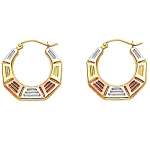 Wellingsale® Ladies 14k Tri 3 Color Gold Polished Octagonal Fancy Hoop Earrings (21 x 22mm)
