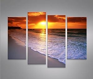 Beach 4 quadri moderni su tela pronti da appendere for Amazon quadri