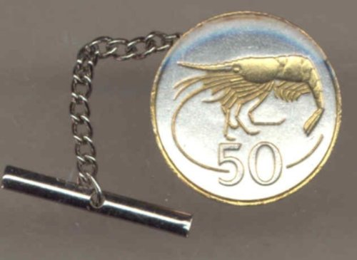 Two Tone Gold on Silver World Shrimp Coin Tie Tack-162TT