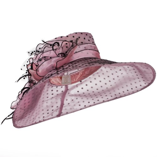 Polka Dot Designed Flower Detailed Organza Hat - Pink W27S45C