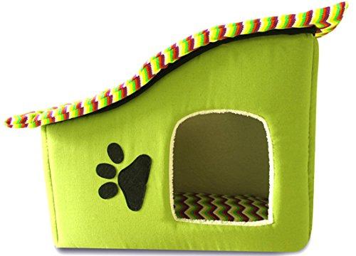 (ココ)COCO ペット用品 ドッグ ハウス ワン ウェーブ 屋根付き 隠れ家 取り外し マット 天井 グリーン 長62.5cm 幅29cm 高42.5cm