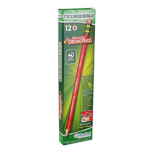 Dixon Ticonderoga Eraser Tipped Checking Pencils - Lead Color: Red - 12 / Set