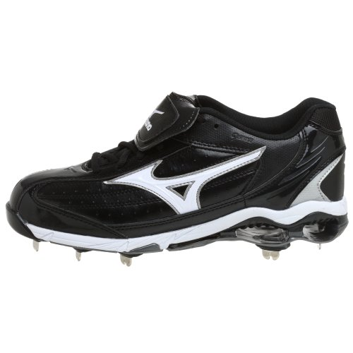 pictures of Mizuno Men's 9 Spike Classic G5 Low Baseball Cleat,Black/White,13 M