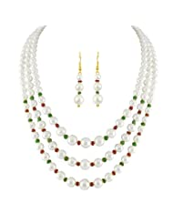 JPEARLS 3 LINE PEARL NECKLACE SET