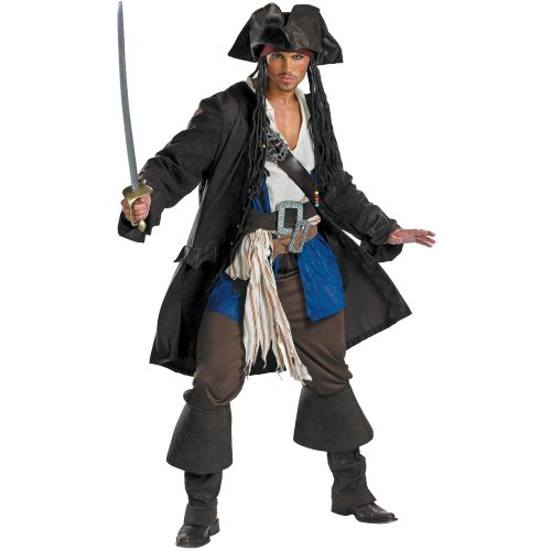 Disguise Mens Pirates Of The Caribbean - Captain Jack Sparrow Prestige Adult Costume