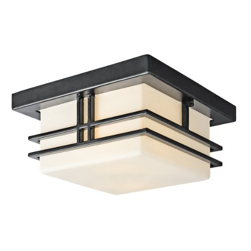 Kichler Lighting 49206BK Tremillo 2-Light Outdoor Flush Mount Ceiling Light, Black with Satin-Etched Cased Opal Glass