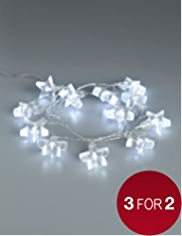 12 White Star Shaped Battery LED Christmas Lights