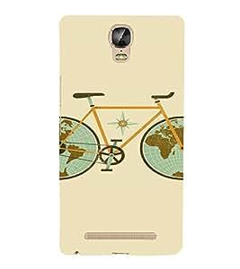 PrintVisa Travel Cycle Map Design 3D Hard Polycarbonate Designer Back Case Cover for Gionee Marathon M5 Plus